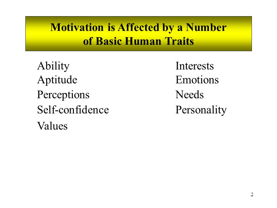 2 Motivation is Affected by a Number of Basic Human Traits Ability Aptitude Perceptions Self-confidence Values Interests Emotions Needs Personality
