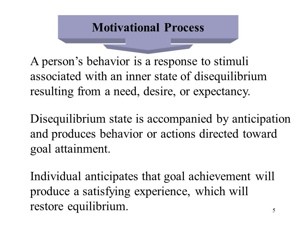 5 Motivational Process A person's behavior is a response to stimuli associated with an inner state of disequilibrium resulting from a need, desire, or