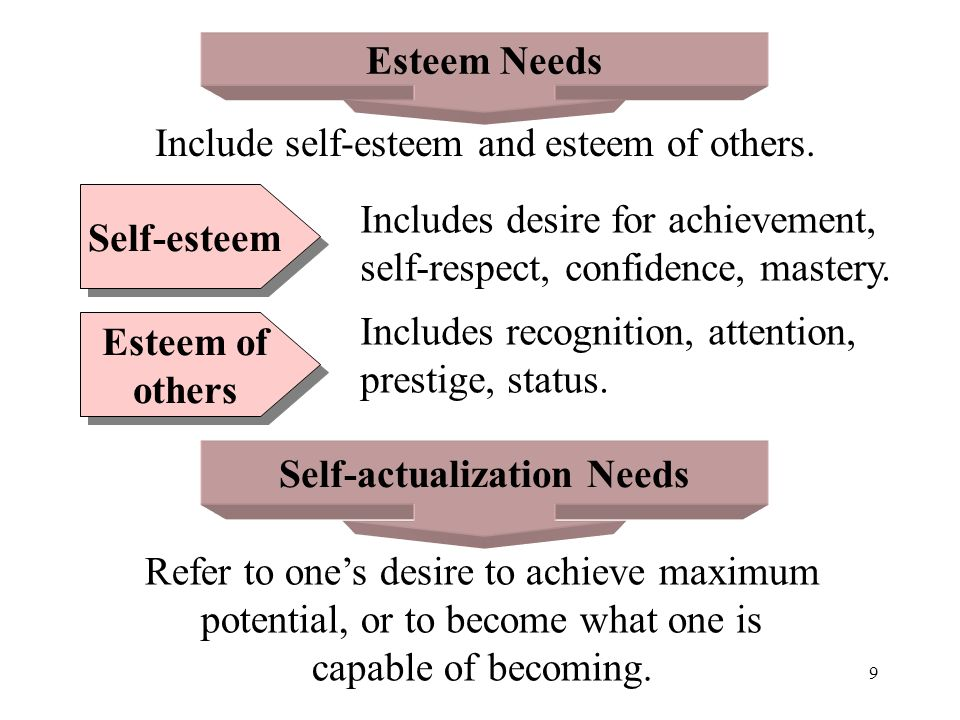 9 Esteem Needs Self-actualization Needs Include self-esteem and esteem of others. Self-esteem Esteem of others Esteem of others Includes desire for ac