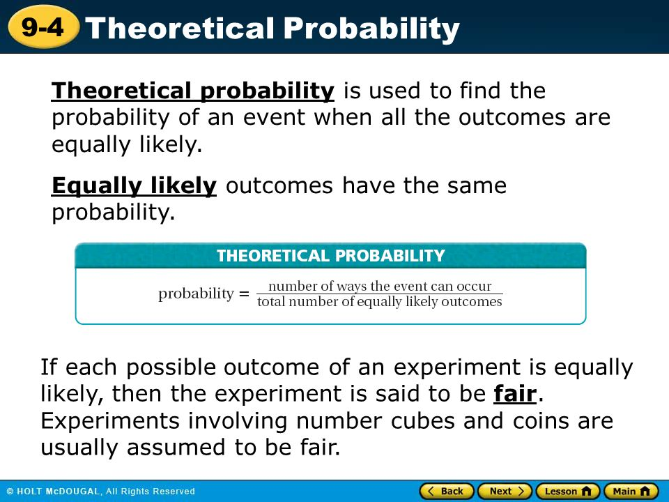Lesson 9-4 Homework And Practice Theoretical Probability Definition - image 4