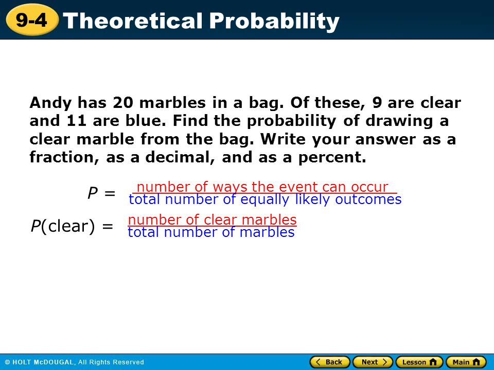 Lesson 9-4 Homework And Practice Theoretical Probability Definition - image 3