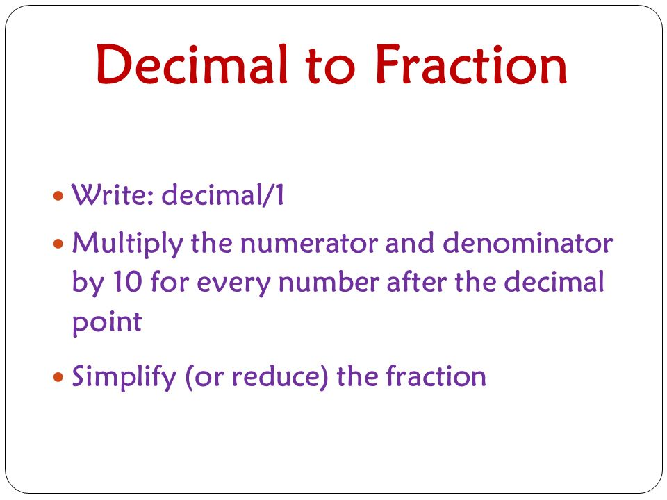 Decimals, Fractions & Percentages. Fractions Numbers that are a ...