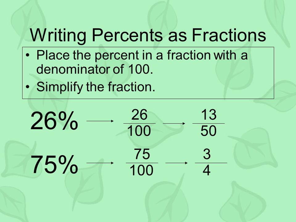 Percents and Fractions. Vocabulary A percent is a ratio that ...