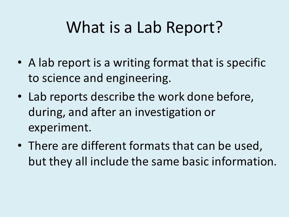 scientific report writing example