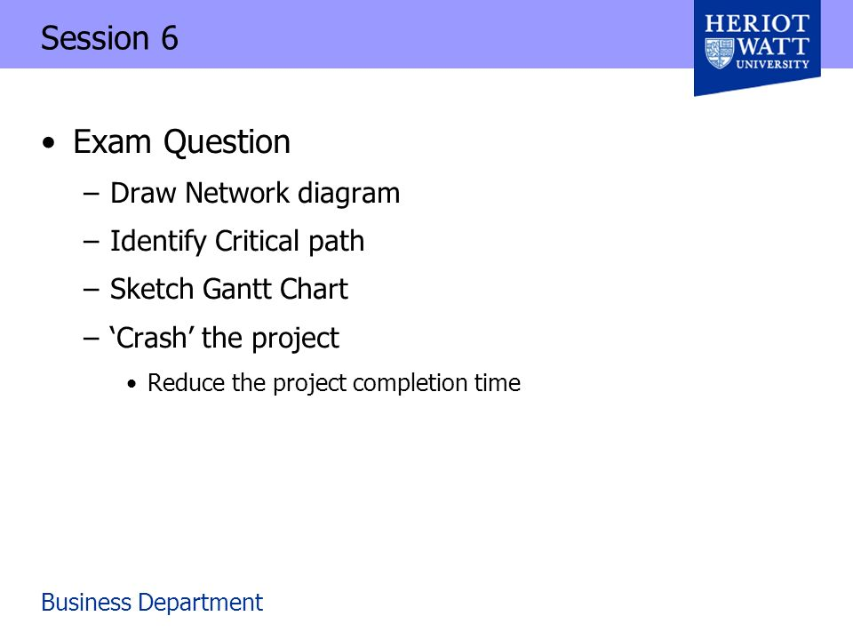 Business department session 6 exam question draw network diagram 1 business department session 6 exam question draw network diagram identify critical path sketch gantt chart crash the project reduce the project publicscrutiny Image collections