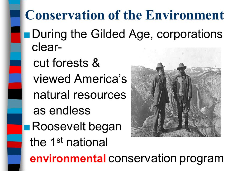 Conservation of the Environment ■During the Gilded Age, corporations clear- cut forests & viewed America's natural resources as endless ■Roosevelt began the 1 st national environmental conservation program