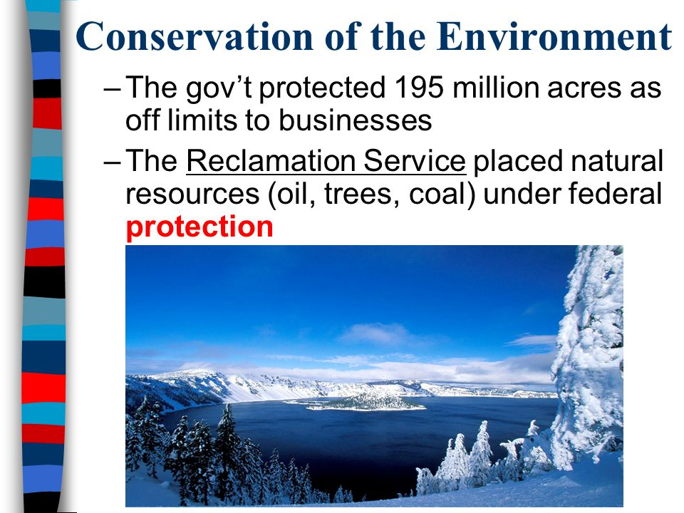 Conservation of the Environment –The gov't protected 195 million acres as off limits to businesses –The Reclamation Service placed natural resources (oil, trees, coal) under federal protection