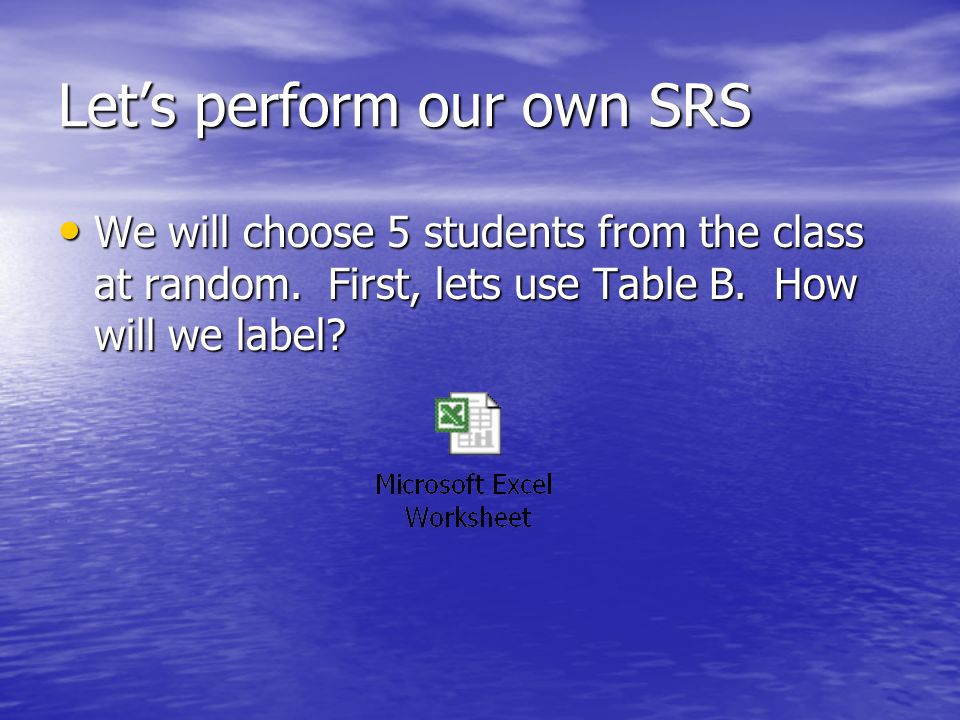 Let's perform our own SRS We will choose 5 students from the class at random.