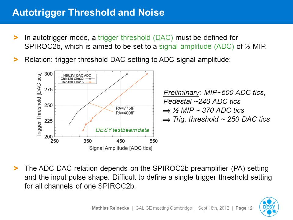 Mathias Reinecke | CALICE meeting Cambridge | Sept 18th, 2012 | Page 12 Autotrigger Threshold and Noise > In autotrigger mode, a trigger threshold (DAC) must be defined for SPIROC2b, which is aimed to be set to a signal amplitude (ADC) of ½ MIP.