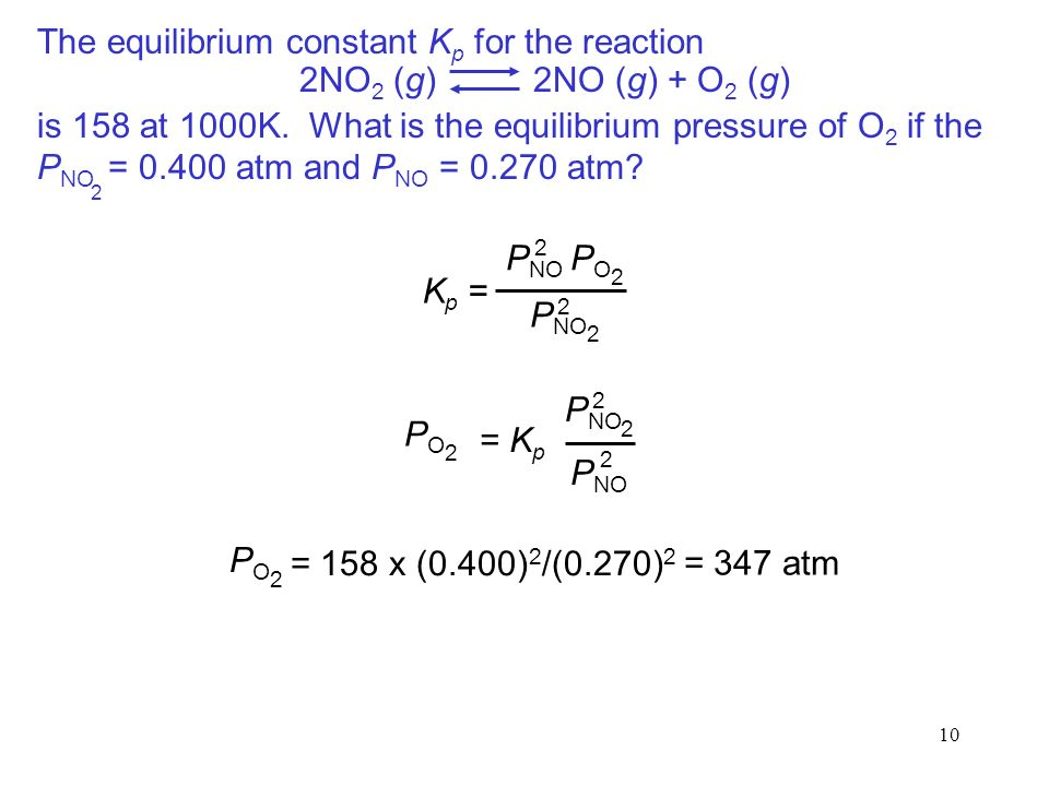 10 The equilibrium constant K p for the reaction is 158 at 1000K.