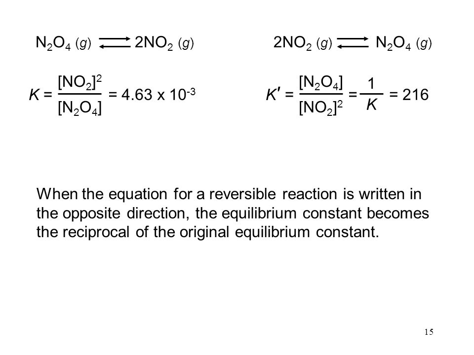 15 N 2 O 4 (g) 2NO 2 (g) = 4.63 x K = [NO 2 ] 2 [N 2 O 4 ] 2NO 2 (g) N 2 O 4 (g) K = [N 2 O 4 ] [NO 2 ] 2 ′ = 1 K = 216 When the equation for a reversible reaction is written in the opposite direction, the equilibrium constant becomes the reciprocal of the original equilibrium constant.