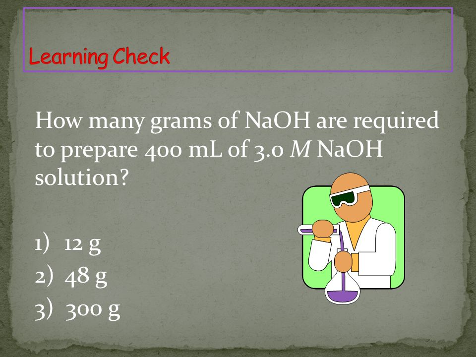 How many grams of NaOH are required to prepare 400 mL of 3.0 M NaOH solution.