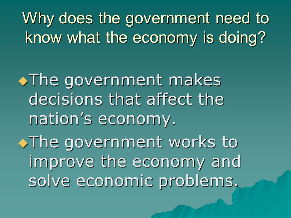 Why does the government need to know what the economy is doing.