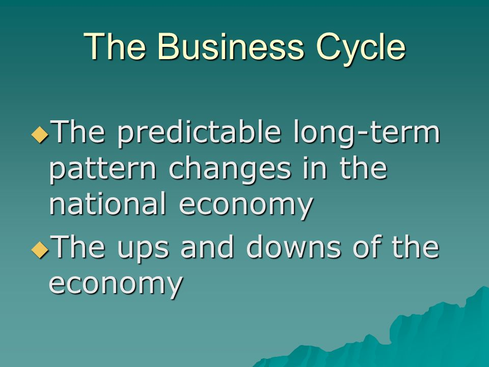 The Business Cycle  The predictable long-term pattern changes in the national economy  The ups and downs of the economy
