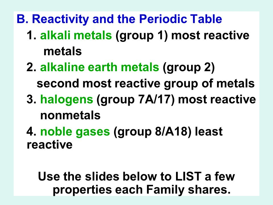 b reactivity and the periodic table 1 alkali metals group 1 most - Periodic Table Alkali Metals Reactivity