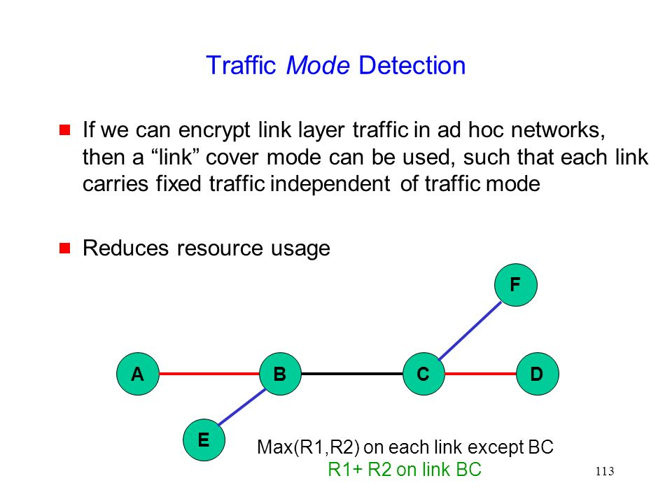 113 Traffic Mode Detection  If we can encrypt link layer traffic in ad hoc networks, then a link cover mode can be used, such that each link carries fixed traffic independent of traffic mode  Reduces resource usage ABCD E F Max(R1,R2) on each link except BC R1+ R2 on link BC