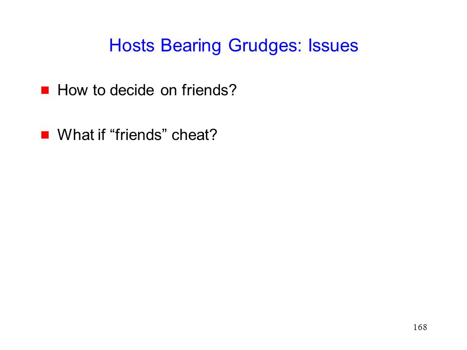 168 Hosts Bearing Grudges: Issues  How to decide on friends  What if friends cheat