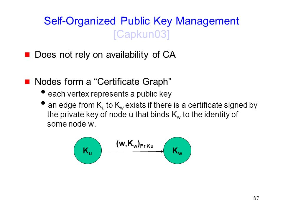 87 Self-Organized Public Key Management [Capkun03]  Does not rely on availability of CA  Nodes form a Certificate Graph  each vertex represents a public key  an edge from K u to K w exists if there is a certificate signed by the private key of node u that binds K w to the identity of some node w.