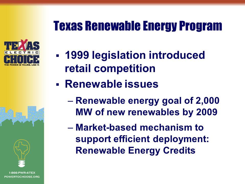 topics iuml sect renewable energy iuml sect electricity prices and retail 2 texas renewable energy program iuml130sect 1999 legislation introduced retail competition iuml130sect renewable issues renewable energy goal of 2 000 mw of new renewables