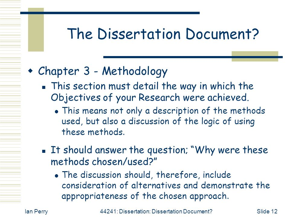 Dissertation Methods