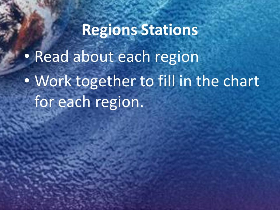 Regions Stations Read about each region Work together to fill in the chart for each region.