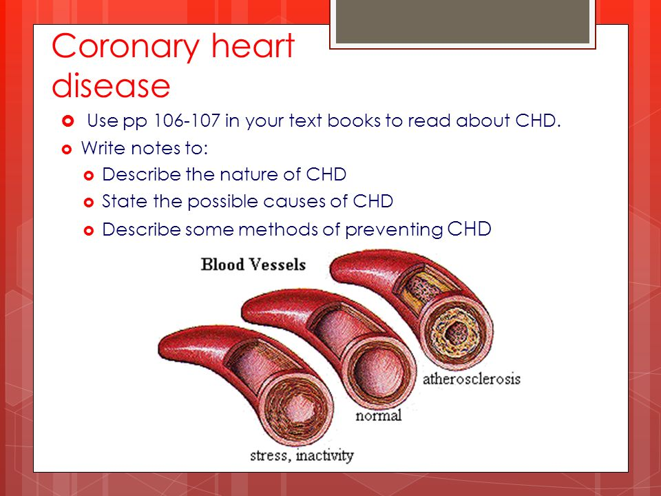Coronary heart disease  Use pp in your text books to read about CHD.