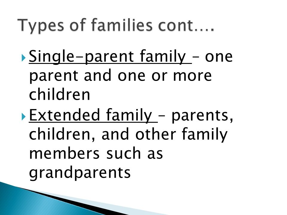  Single-parent family – one parent and one or more children  Extended family – parents, children, and other family members such as grandparents