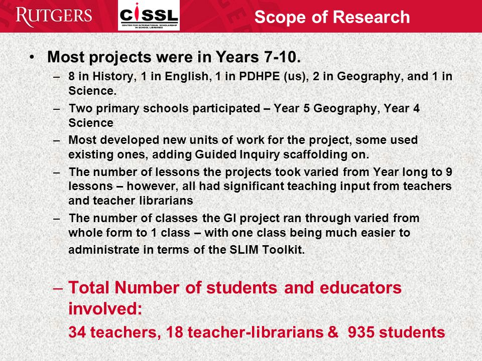 Scope of Research Most projects were in Years 7-10.