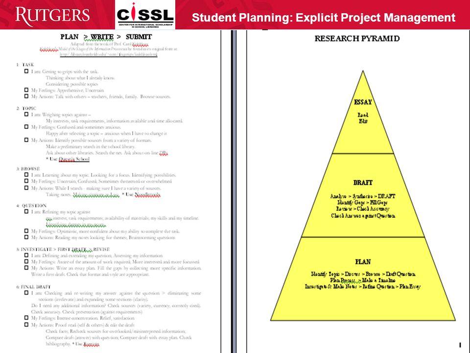 Student Planning: Explicit Project Management