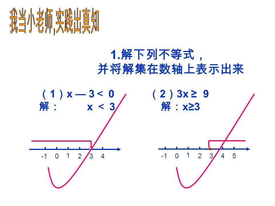 1 、如果 x + 5 > 4 ,那么两边都 可得 x >- 1 2 、在- 3y >- 4 的两边都乘以 7 可得 3 、在不等式 — x≤5 的两边都乘以- 1 可得 4 、将- 7x — 6 < 8 移项可得 。 5 、将 5 + a >- 2 a 移项可得 。 6 、将- 8x < 0 的系数化成 1 ,可得 。 7 、将不等式 -3 x < -6 系数化成 1 ,可得 。 减5减5 - 7x < 8+6 a+ 2a >- 5 - 21y >- 28 x>0x>0 x > 2 x≥ - 5