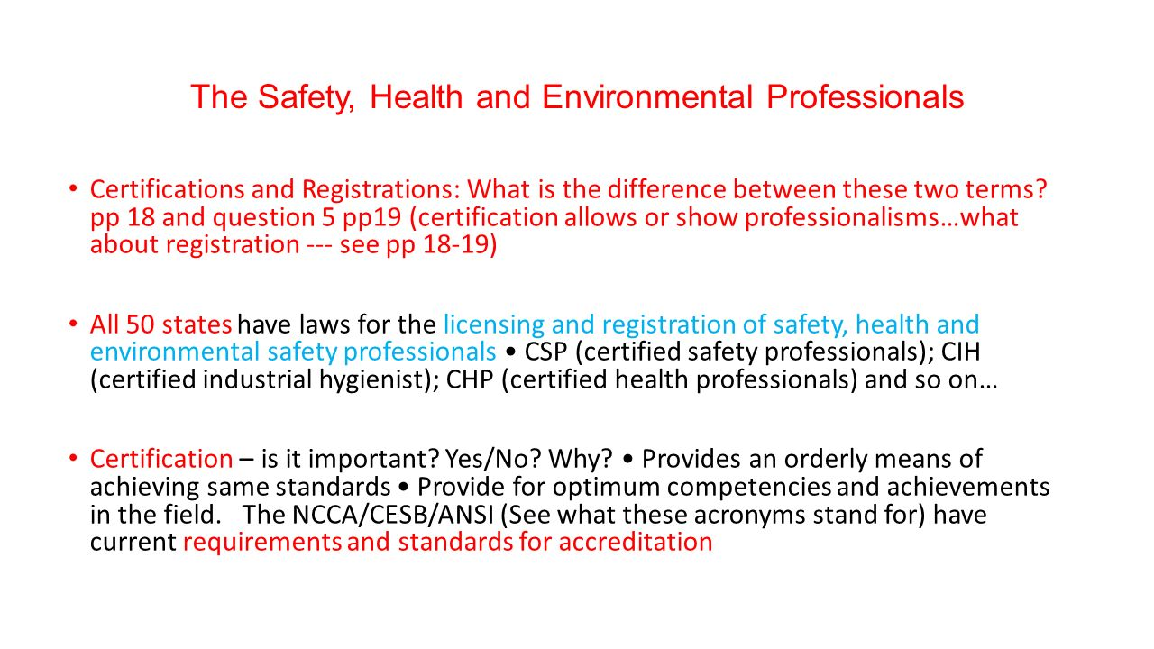 Oshe 111 lecture 4 the safety health and environmental 6 certifications 1betcityfo Choice Image