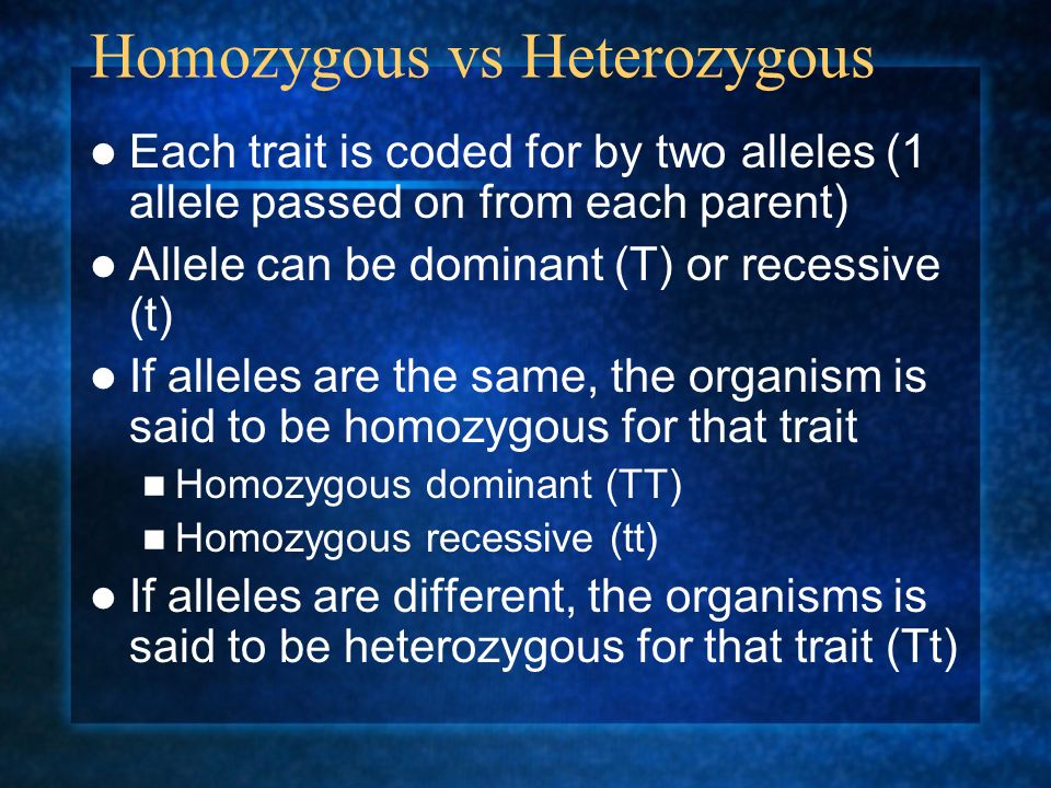 Rule of Dominance When 2 alleles are present for the same trait, one will dominate over the other Dominant = the trait that is observed Recessive = the trait that is not seen or disappears