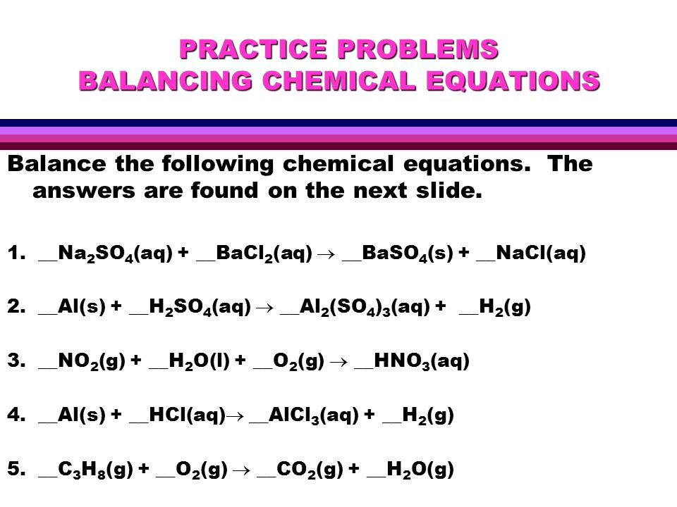 Practicing Balancing Equations  Jennarocca