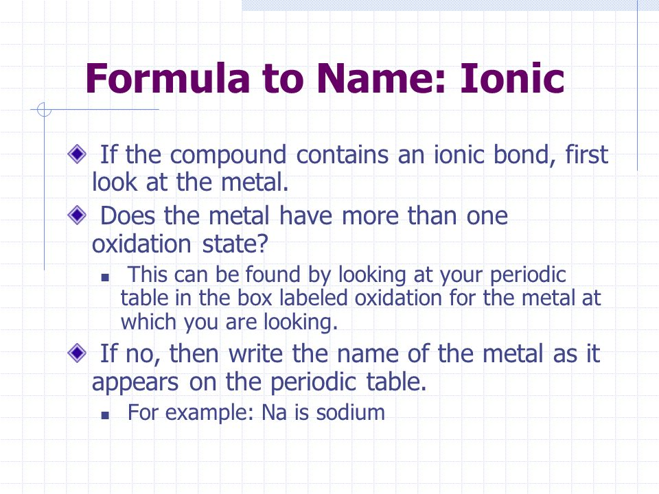 Chemistry lecture 3c names and formulas of chemical compounds formula to name ionic if the compound contains an ionic bond first look at urtaz Image collections
