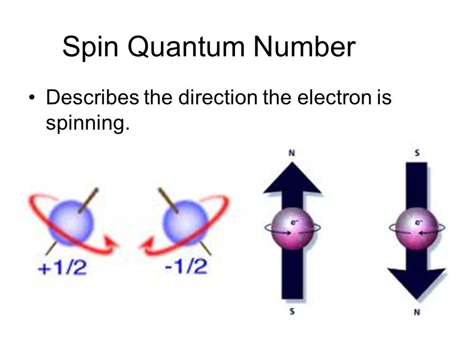 Spin Quantum Number Describes the direction the electron is spinning.