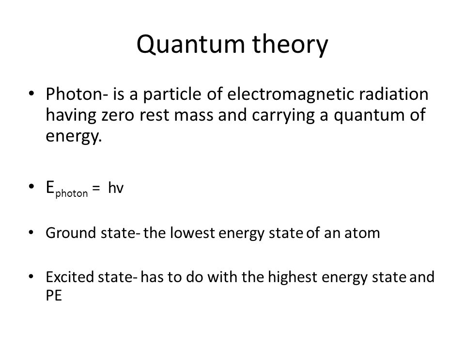 Quantum theory Photon- is a particle of electromagnetic radiation having zero rest mass and carrying a quantum of energy.