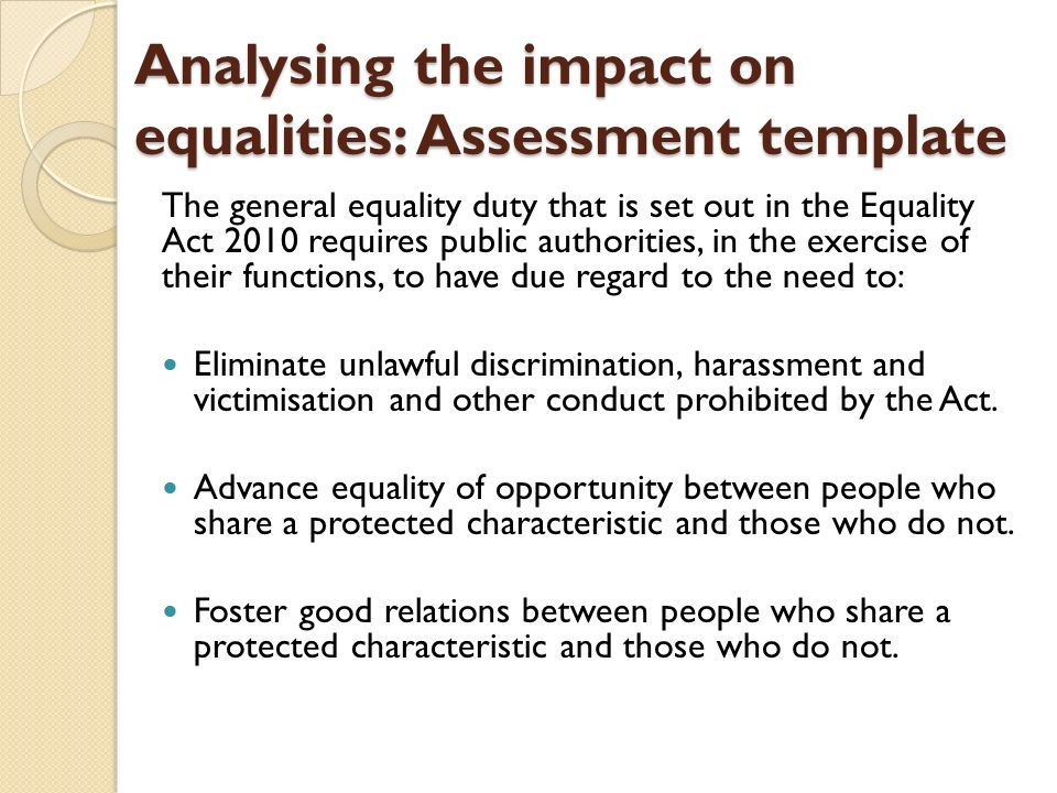 Equality Impact Assessment. Department Of Health Analysing The