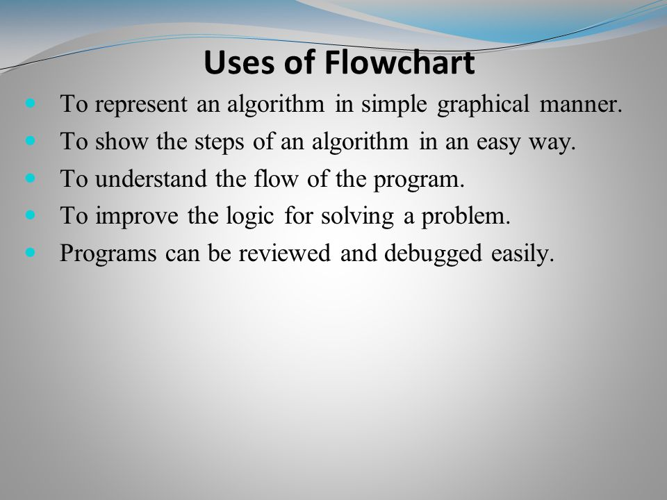 Uses of Flowchart To represent an algorithm in simple graphical manner.