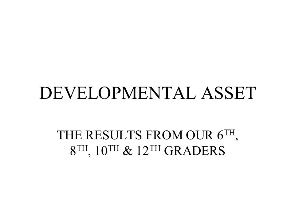 DEVELOPMENTAL ASSET THE RESULTS FROM OUR 6 TH, 8 TH, 10 TH & 12 TH GRADERS