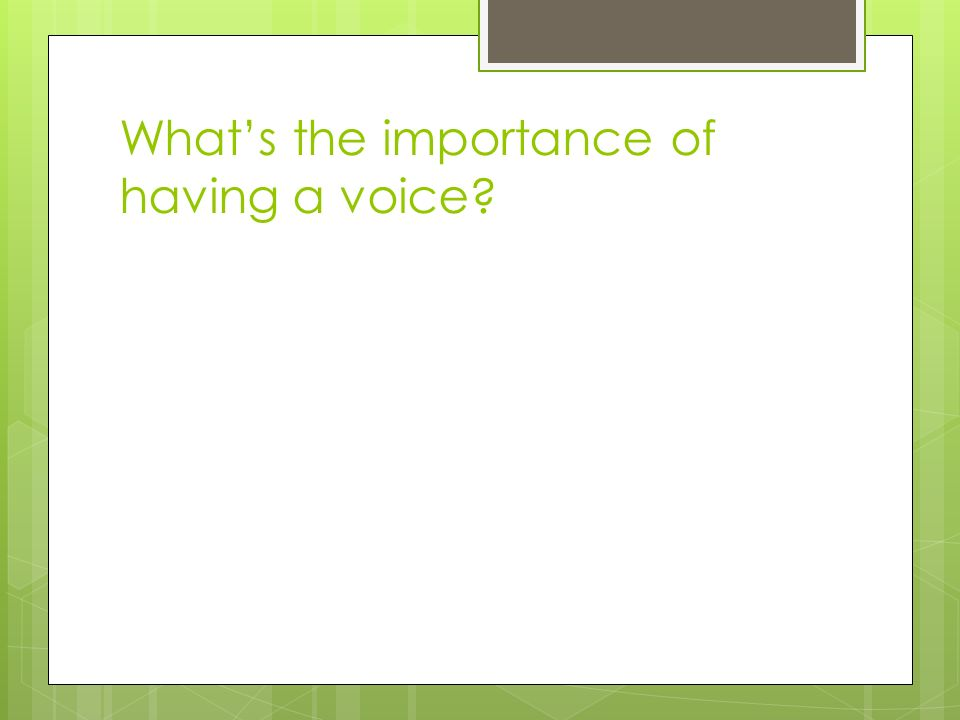What's the importance of having a voice