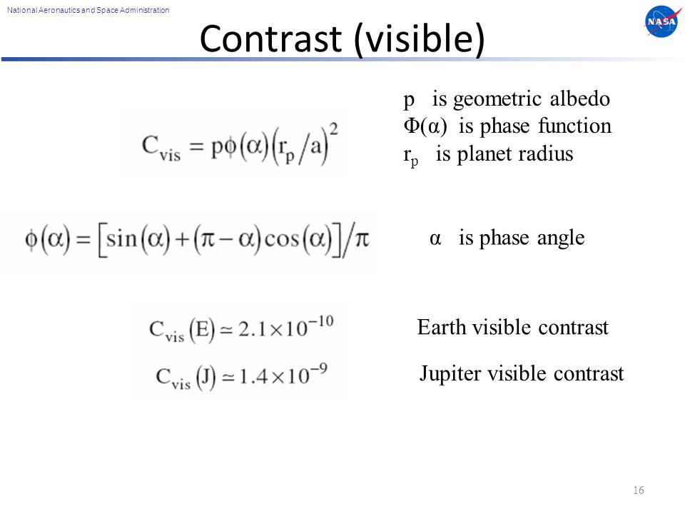 National Aeronautics and Space Administration Contrast (visible) 16 p is geometric albedo Φ(α) is phase function r p is planet radius α is phase angle Earth visible contrast Jupiter visible contrast