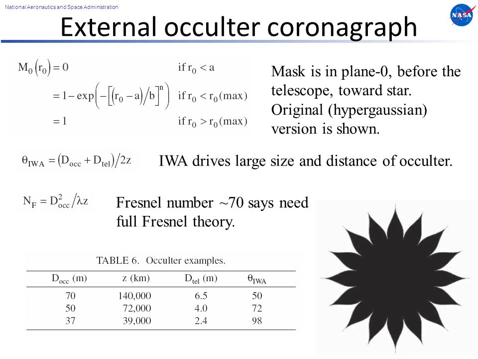 National Aeronautics and Space Administration External occulter coronagraph 47 Mask is in plane-0, before the telescope, toward star.