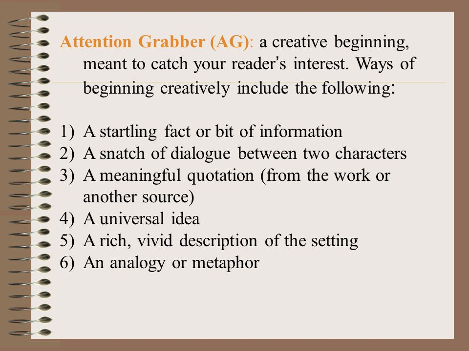 Good Grabbers For An Essay