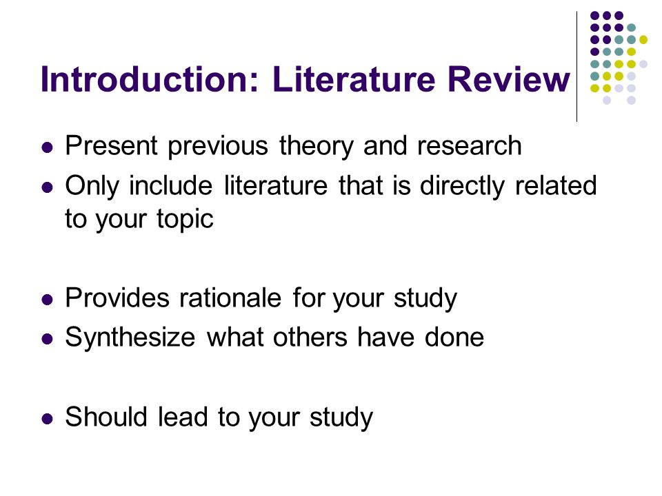How to write an introduction to a literature review