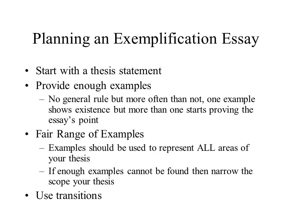what is an exemplification essay Define exemplification: the act or process of exemplifying example, case in point an exemplified copy of a document — exemplification in a sentence.