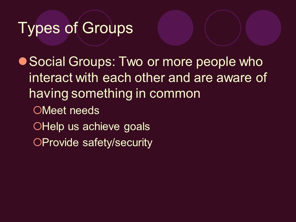 Types of Groups Social Groups: Two or more people who interact with each other and are aware of having something in common  Meet needs  Help us achieve goals  Provide safety/security