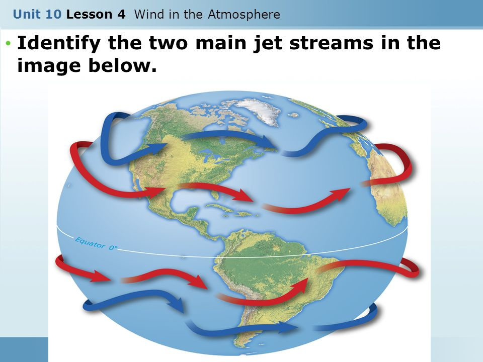 Identify the two main jet streams in the image below. Unit 10 Lesson 4 Wind in the Atmosphere
