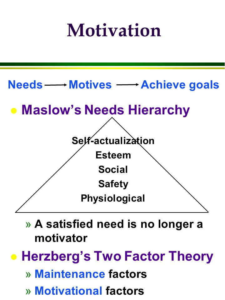 Motivation l Maslow's Needs Hierarchy Self-actualization Esteem Social Safety Physiological »A satisfied need is no longer a motivator l Herzberg's Tw