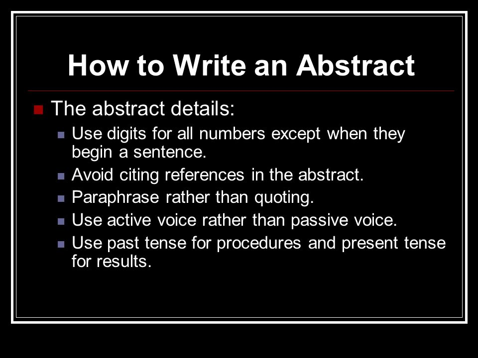 how do i write a dissertation abstract