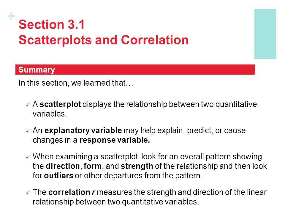 + Section 3.1 Scatterplots and Correlation In this section, we learned that… A scatterplot displays the relationship between two quantitative variables.